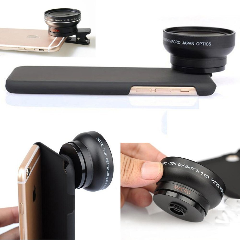 Professional 37mm Super HD 0.45x Wide Angle Lens + 12.5x Macro Lens + Back Case + Universal Holder Clip For iPhone X 5 6s 7 8 Plus Samsung Galaxy S7 edge S8 Plus (For iPhone X)