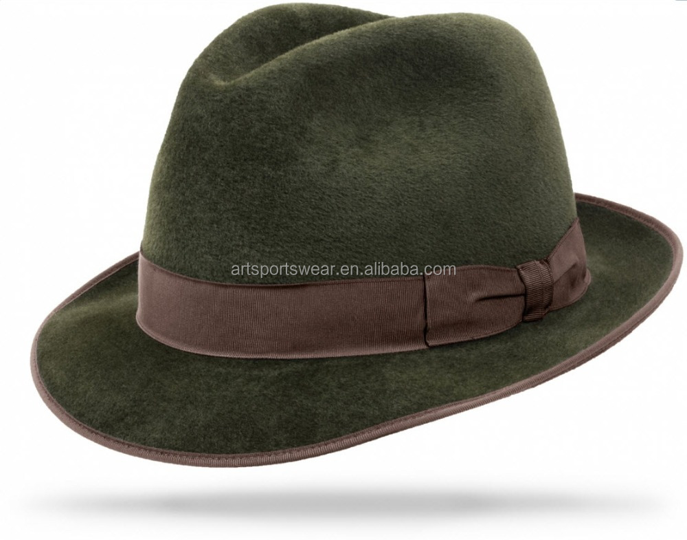 worth felt men handmade brown ribbon fedora hats