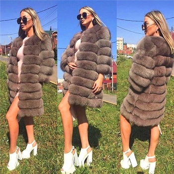 New Hot winter Artificial fox fur jacket cheap fake faux fur coat women long Fur Coats