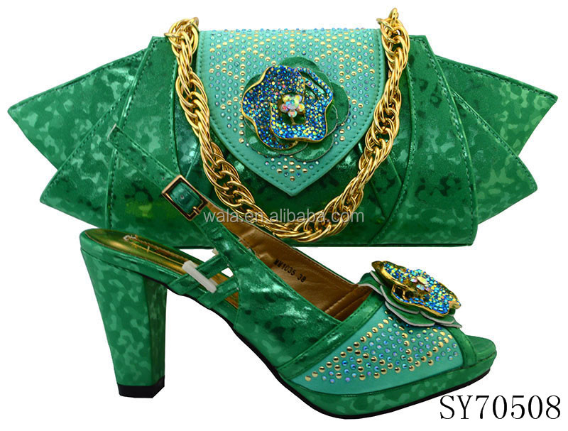 SY70508 lastest Italian design shoes fashion and green lady bags 5 matching for EqwXxnrqRW