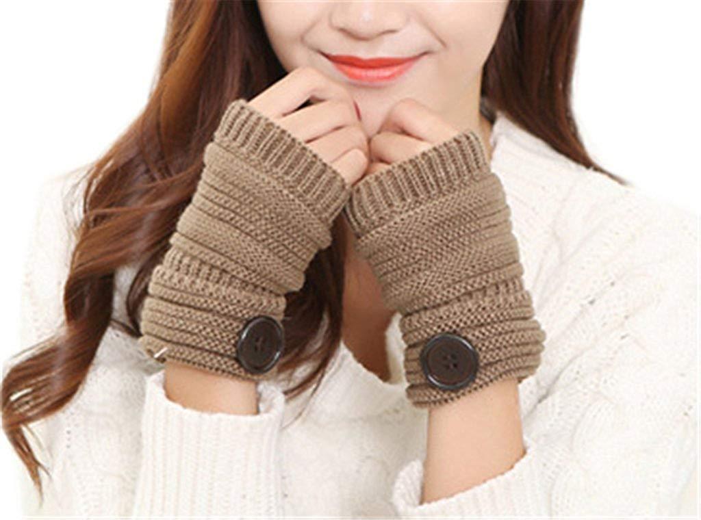 AnVei-Nao Womens Girls Winter Warm Button Knit Stripe Fingerless Office Gloves