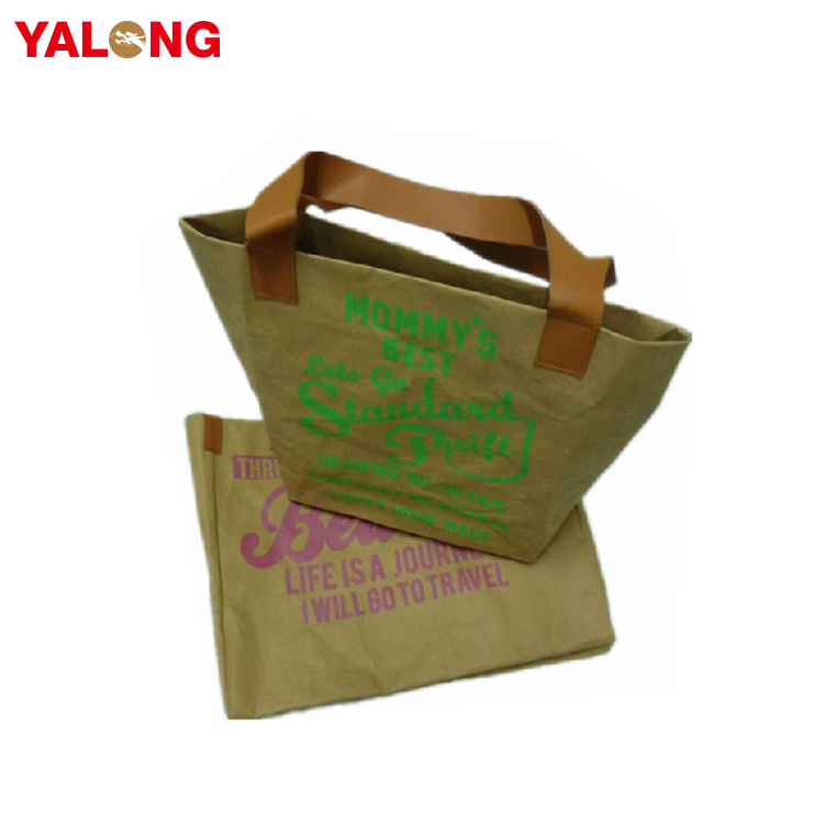 Washed kraft paper Tote Bag For Packing
