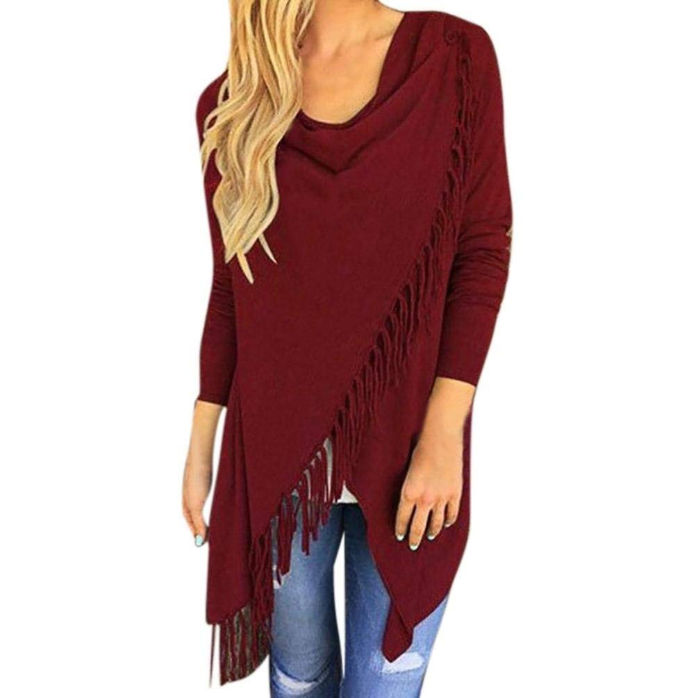 Joopee Women Long Sleeve Tassel Hem Slash Tops Crew Neck Knited Cardigan Blouse