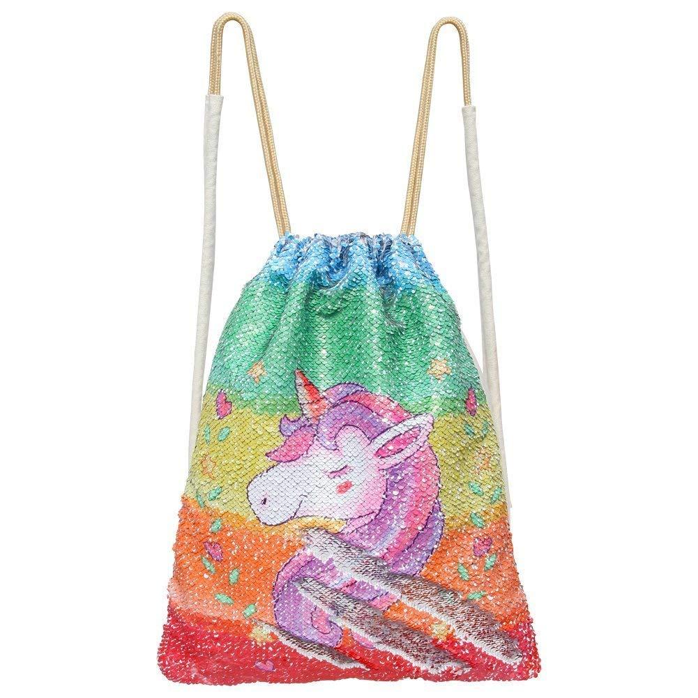 Mermaid Drawstring Bag Magic Reversible Sequin Backpack Glittering Dance School Bag for Yoga Outdoors Sports, for Girls Women Kids
