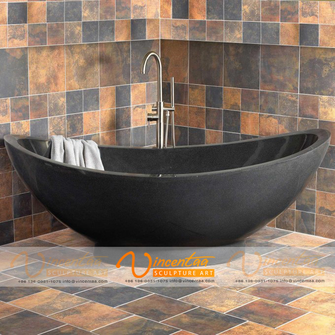 Vincentaa 2019 New Factory Supply Natural Solid Black Stone Bathtub Freestanding for Sale