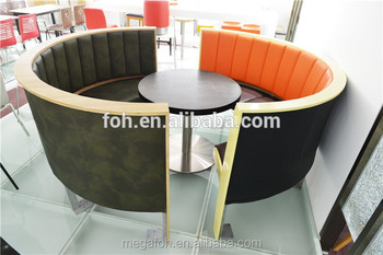 Luxury Leather Half Round Sofa Restaurant Booths U Shape For Sale,  FOH CBCK72