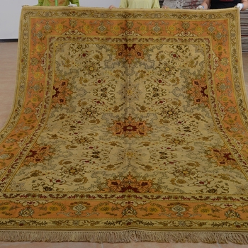 Antique Washed Persian Rug Wool And Silk Area Gold Orange Best Rugs