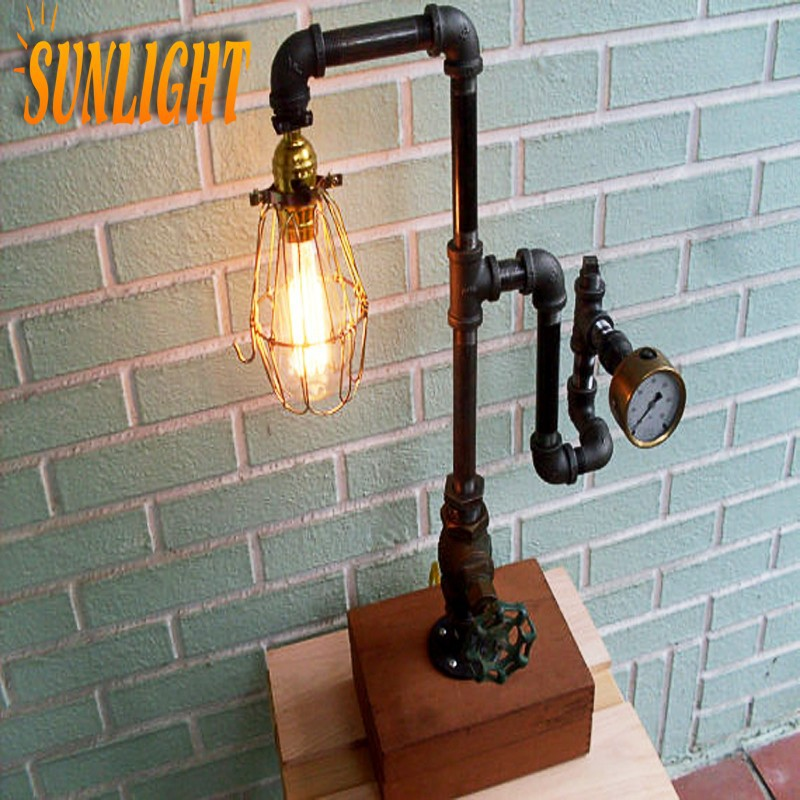 retro rohr steampunk lampe industrierohr chic licht loft jahrgang industrielle tischlampe. Black Bedroom Furniture Sets. Home Design Ideas