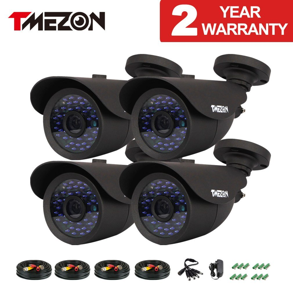 "TMEZON 4 Pack 1/3"" Cctv Security Camera 900TVL 960H Day Night Vision Had IR-Cut Home Security Camera Outdoor Weatherproof 42IR Infrared LEDs 3.6mm Lens Surveillance Camera Kits"