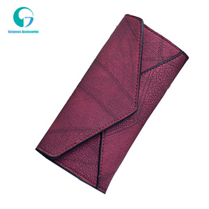 Fashion Vintage Joint Leather Large Capacity Long 3 fold PU Lady Wallet