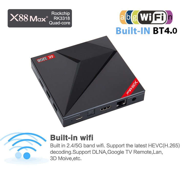 X88 MAX+ RK3318 Quad-Core 64bit 4gb ram 64gb rom smart tv 4k uhd android 9.0 box firmare update 1 Type-c USB