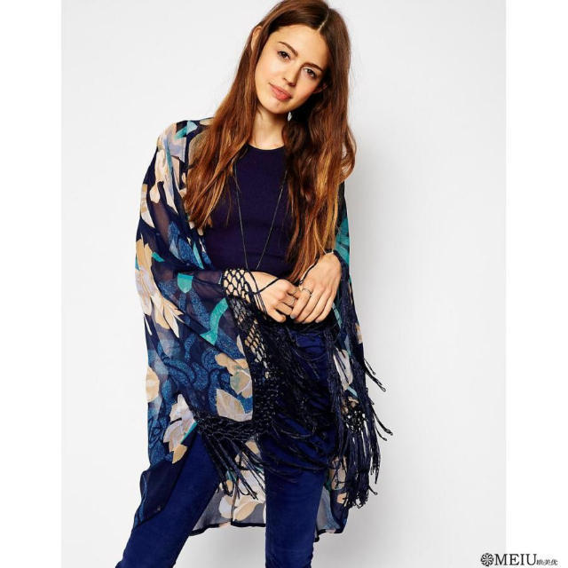 2016 new Maternity women summer romantic Tassel print Europe cardigan blouses 7 sleeve chiffon long blusa