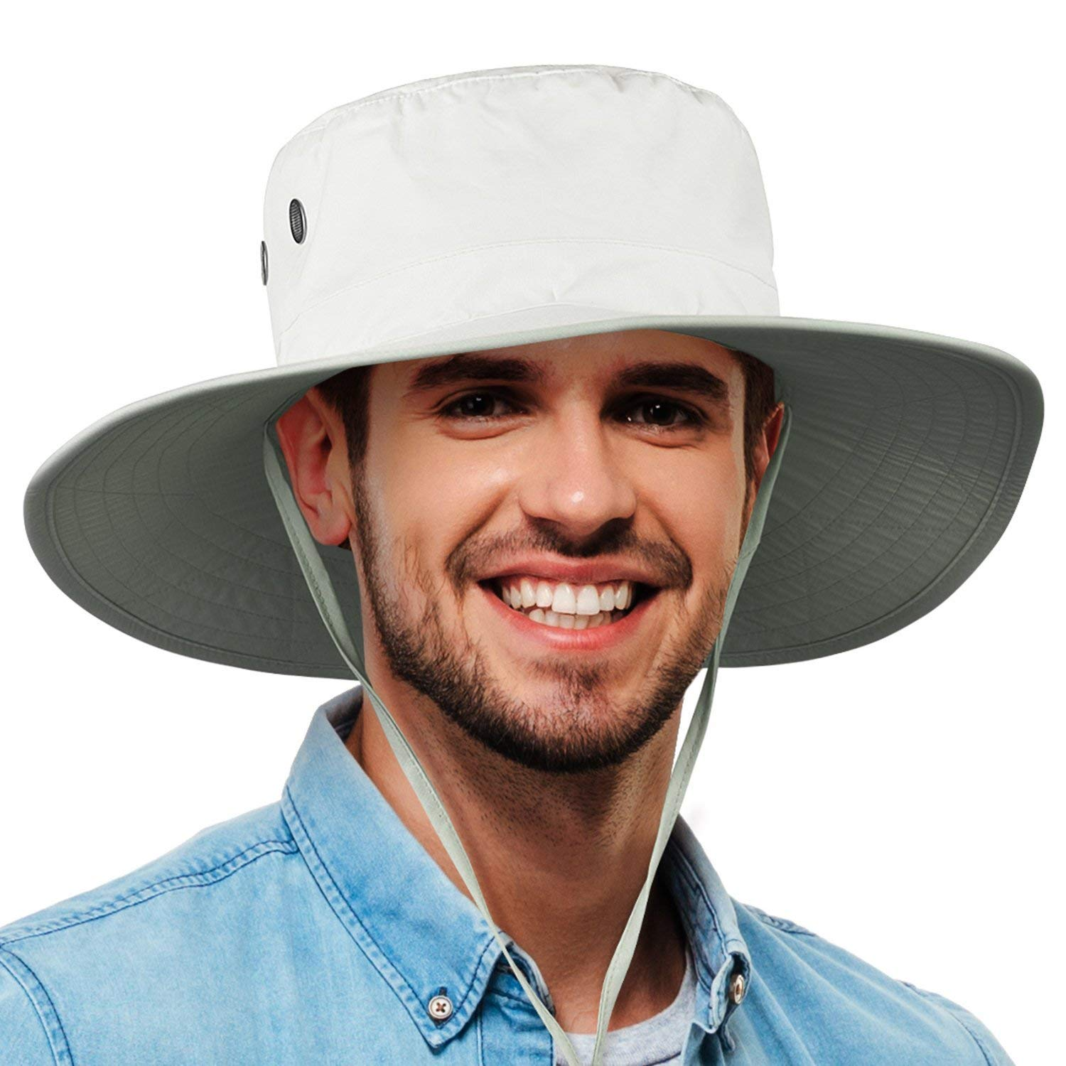 f51a19fc6ac Get Quotations · Tirrinia Unisex Waterproof Sun Hat Wide Brim Safari  Fishing Golf Boonie Hat with Adjustable Drawstring for