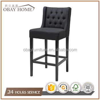 Super Obay Black Wooden Bar Stools With Upholstered Linen Tufted Back High Chairs Buy Wooden Bar Stools High Chairs Tufted Bar Stool Product On Cjindustries Chair Design For Home Cjindustriesco