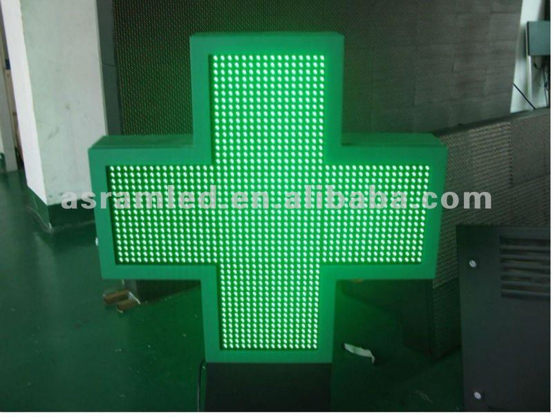 Wholesale remote control simple pharmacy green led cross