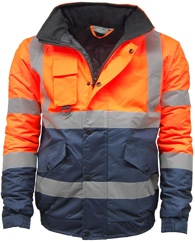 Mens Hi Viz High Visibility Bomber Safety Work Black Hooded Jacket Coat All Size Coats & Jackets