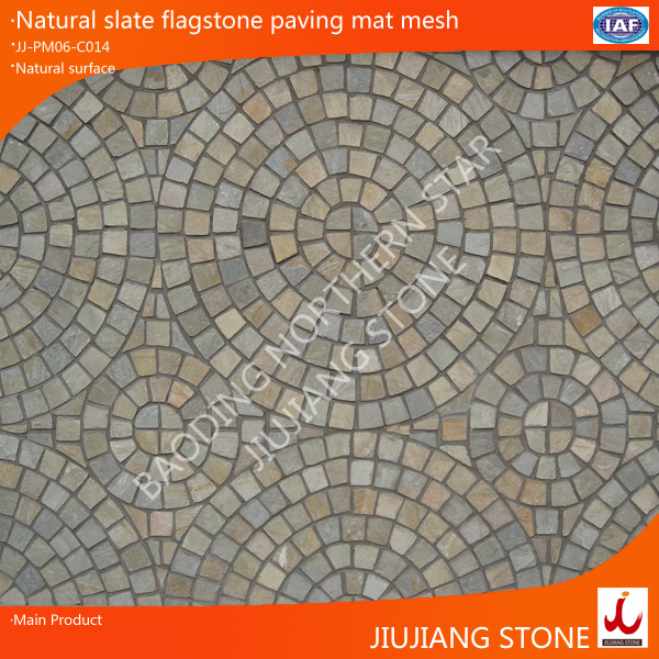 natural slate interlocking paver stone on mesh