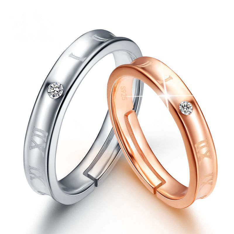 ATHENAA 925 Sterling Silver Couple Ring Set Rose Gold Roman Numerals Lovers Rings Set