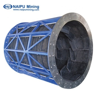 Rubber trommel screen of the discharge ends of AG mills, SAG mills and ball mills for classification of material