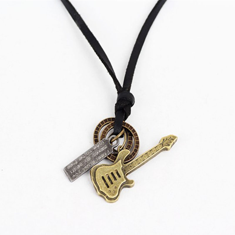 New fashion men's leather guitar pendant necklace Vintage Retro guitar necklace for unisex jewelry