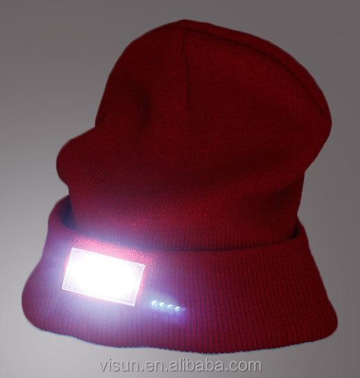 Super Comfortable Warm Huggabe Lighted 4 Ultra Bright Lights LED Beanie Hat