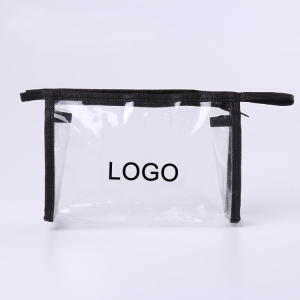 Promotional Customize Logo Imprint Transparent PVC plastic clear cosmetic bag with non-woven edge