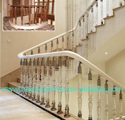 Foshan Plexiglass Railing With Stainless Steel. Acrylic Stair Post