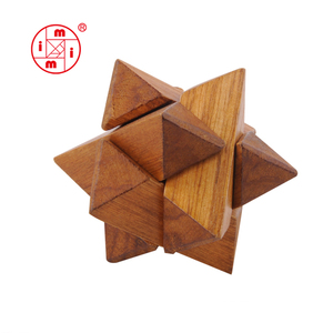Atom wooden puzzle solutions IQ game Wooden Cube Brain Teaser Puzzle s