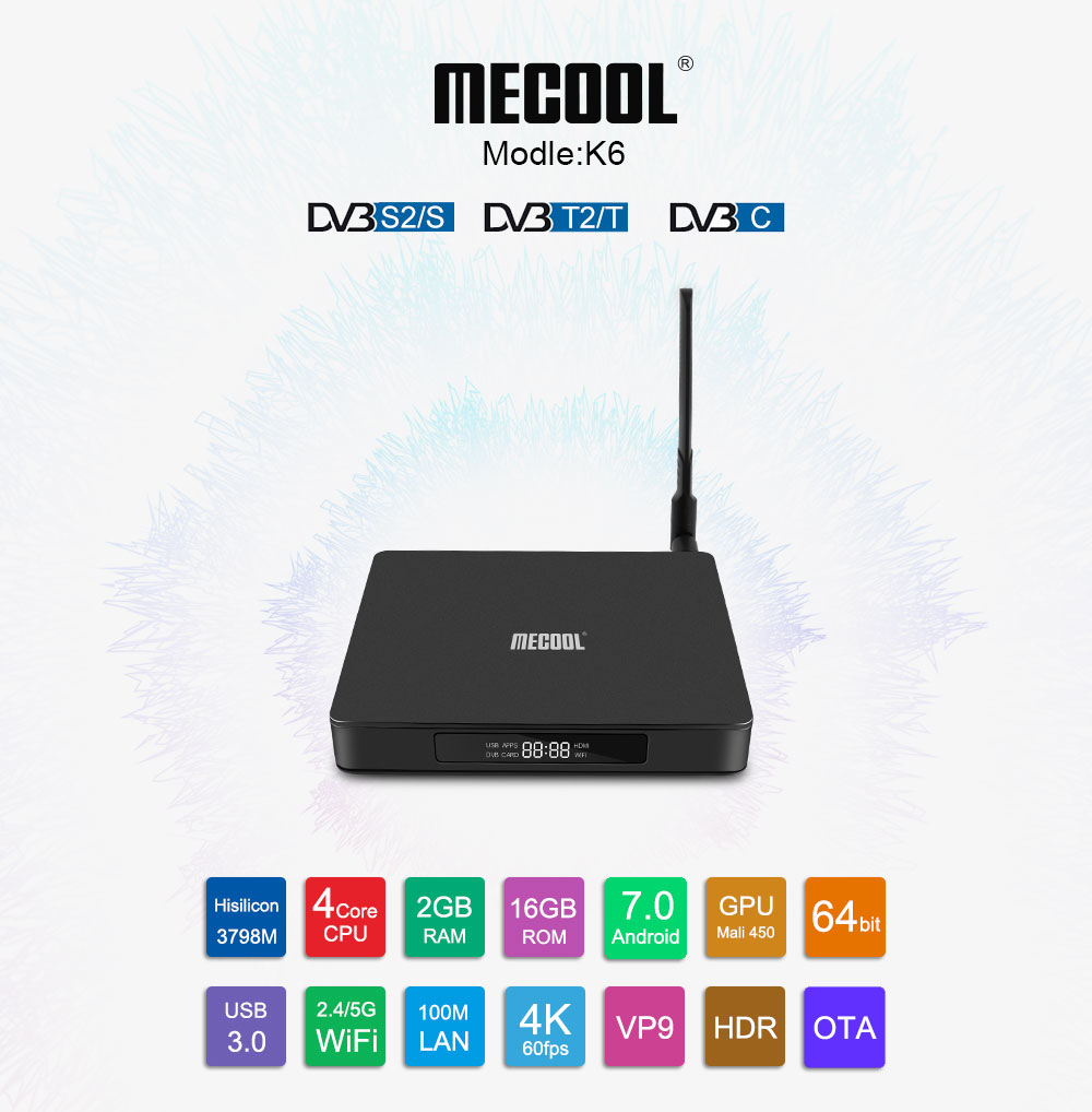 MECOOL K6 DVB S2 - T2 - C 64bit Android 7.0 Dual Band WiFi TV Box 2GB