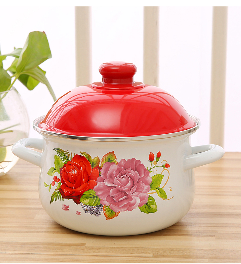 High Quality Double Handle 5pcs Double Side Flower Print Enamel Flower Creamic Cookware Set