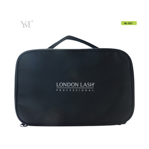 2018 custom 2 layer organizer travel cosmetic nylon bag with handle