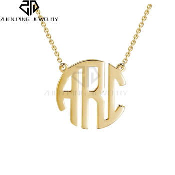 68f3f173f Initial Circle Two or Three Letter Pendant Rose Gold Block Style Monogram  Necklace Birthstone Custom Personalized