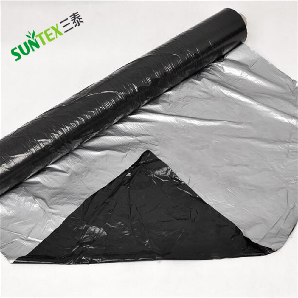 Agriculture plastic products 100% new material PE black & silver plastic mulch film,weed control mulch layer with good quality