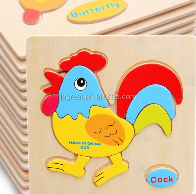 3D Educational cock animals shaped wood puzzle toy for children kids Toddlers