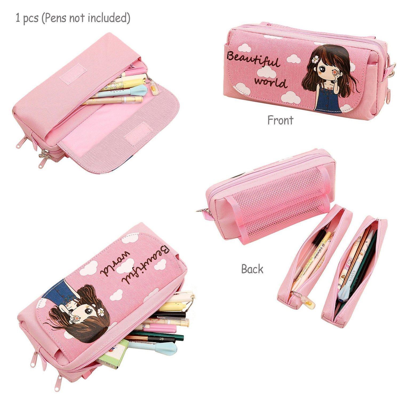 Merveilleux Pencil Holders, TopRay Multi Layer Cute Cartoon Beautiful Girl Pencil Case  Pen Bag Pouch