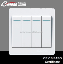 Tipo flush pc 4 vías 1gang interruptor eléctrico de la pared light con alta calidad