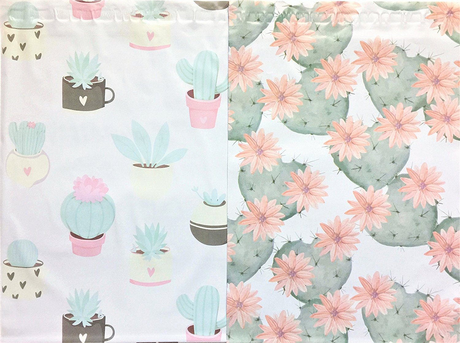 Designer Poly Mailers 10x13 : Pastel Succulent & Floating Cactus Combo; Printed Self Sealing Shipping Poly Envelopes Bag (30 Pcs Total)