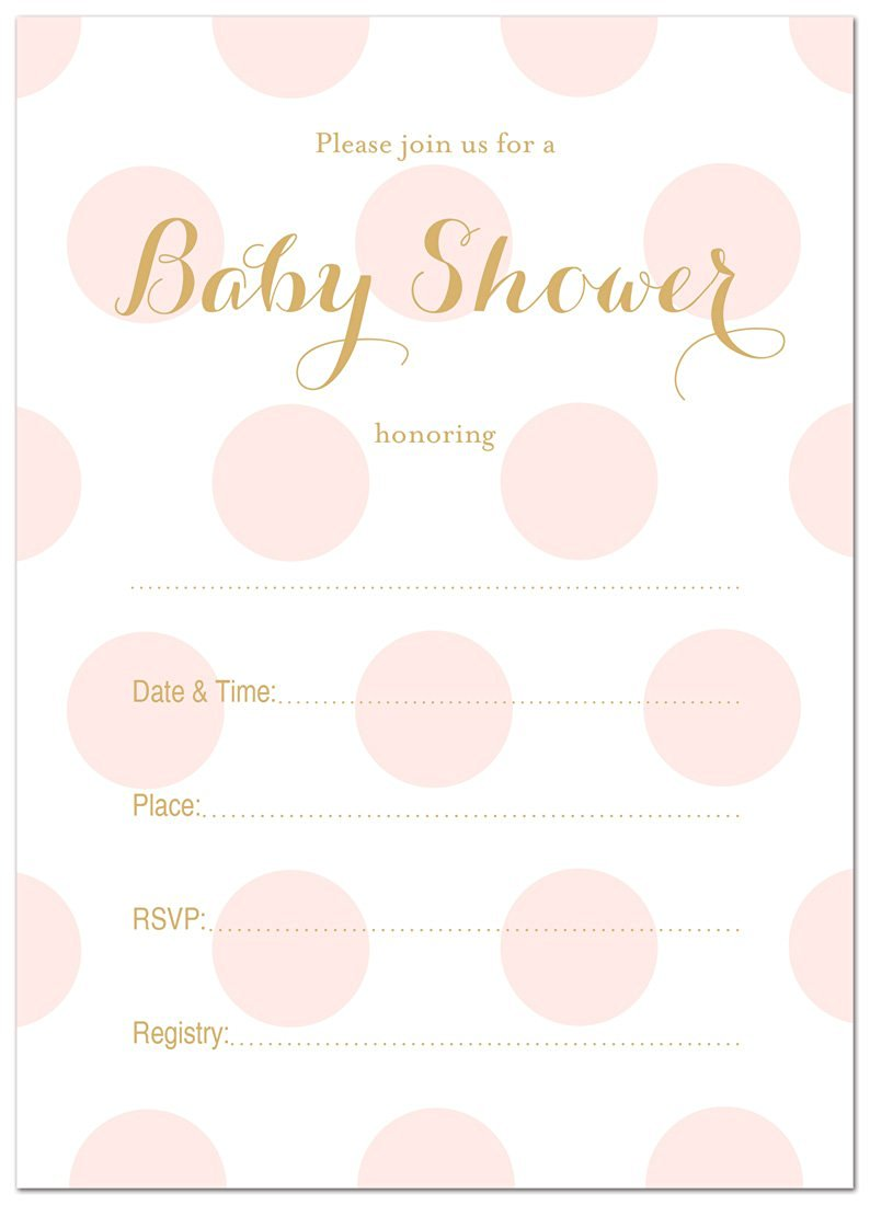 MyExpression.com 24 Polka Dots Gold Fill-in Baby Shower Invitations (Pink)