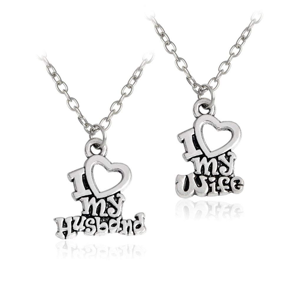BESTOYARD Couple Necklace Set I Love My Husband Wife Letter Necklace Heart Necklace Set for Valentine's Day Birthday Wedding Gift 2PCS