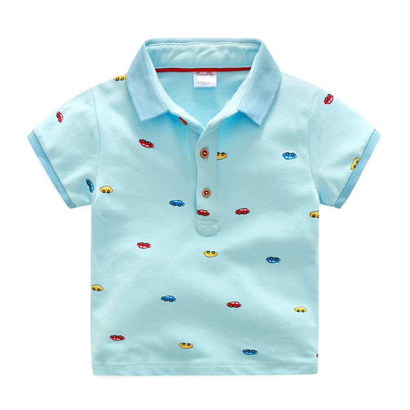90d1d0823 2018 niños ropa de verano de algodón de estilo camiseta para niño Polo  camisas coches de