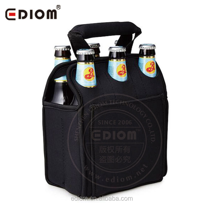 Neoprene 6 Pack Beer Bottle Carrier | Six Pack Can Cooler Tote Bag