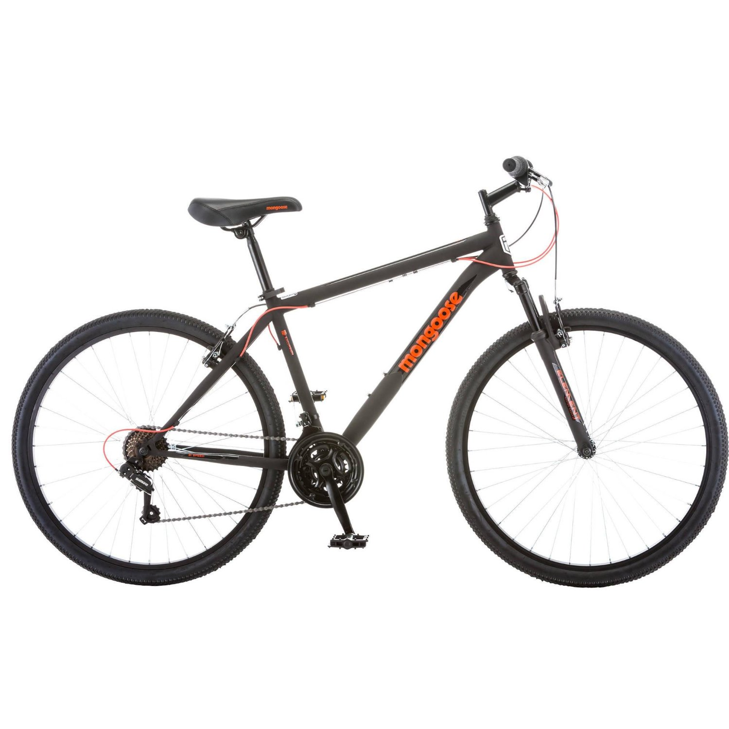 Mongoose 21 Speed Steel Frame Front Suspension Mountain Bike for Men, 27.5 Inch