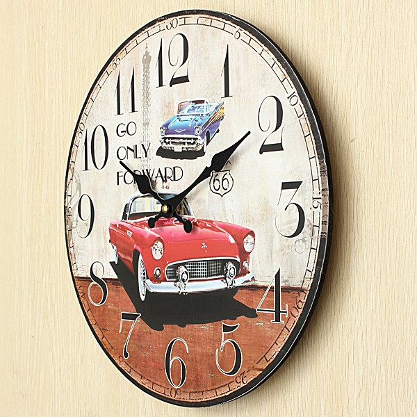 Hot sales High Quality Large Wall Clock Car Vintage Rustic Shabby Chic Home Office Cafe Bar Decoration Art MDF Gift For Family