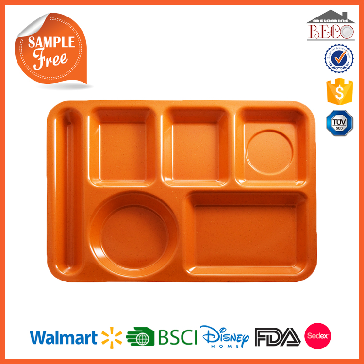Food Grade Melamine Plastic Lunch Divided Tray with BPA Free