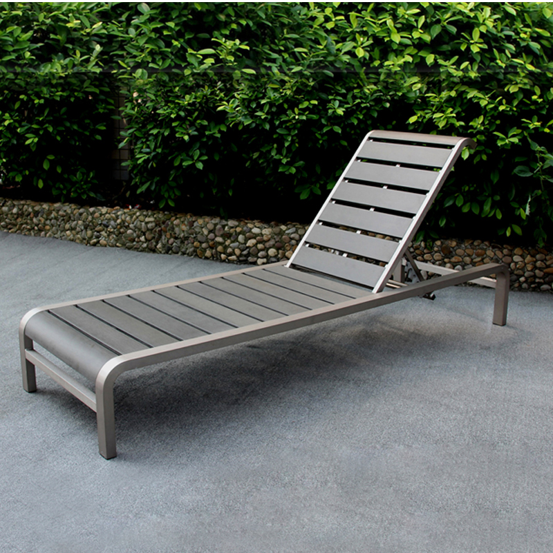 Outdoor beach metal funiture brushed aluminum polywood deck chair sunbed lying bed sun lounger for sale