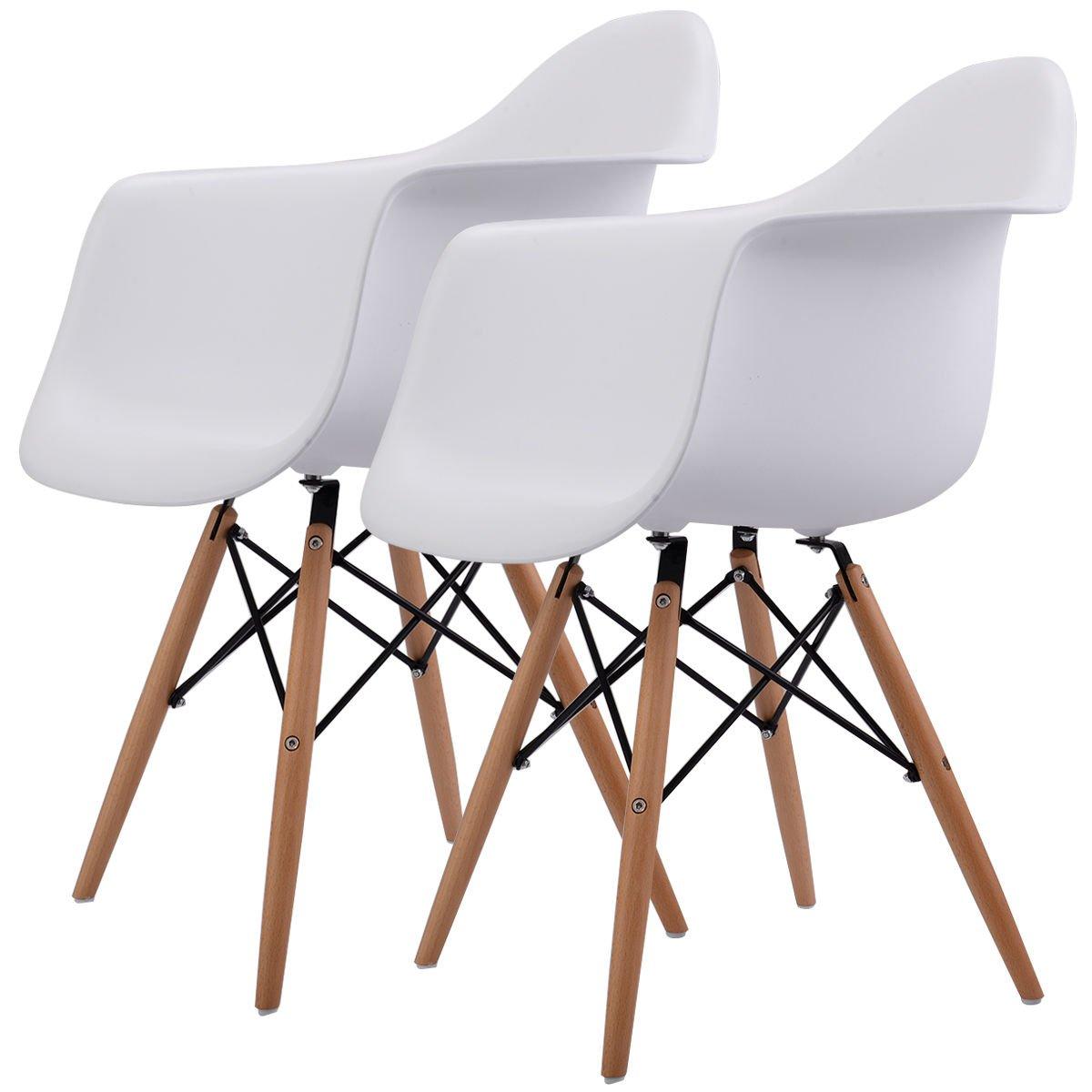 Giantex Set of 2 Mid Century Modern Molded Style Dining Arm Chair Wood Legs