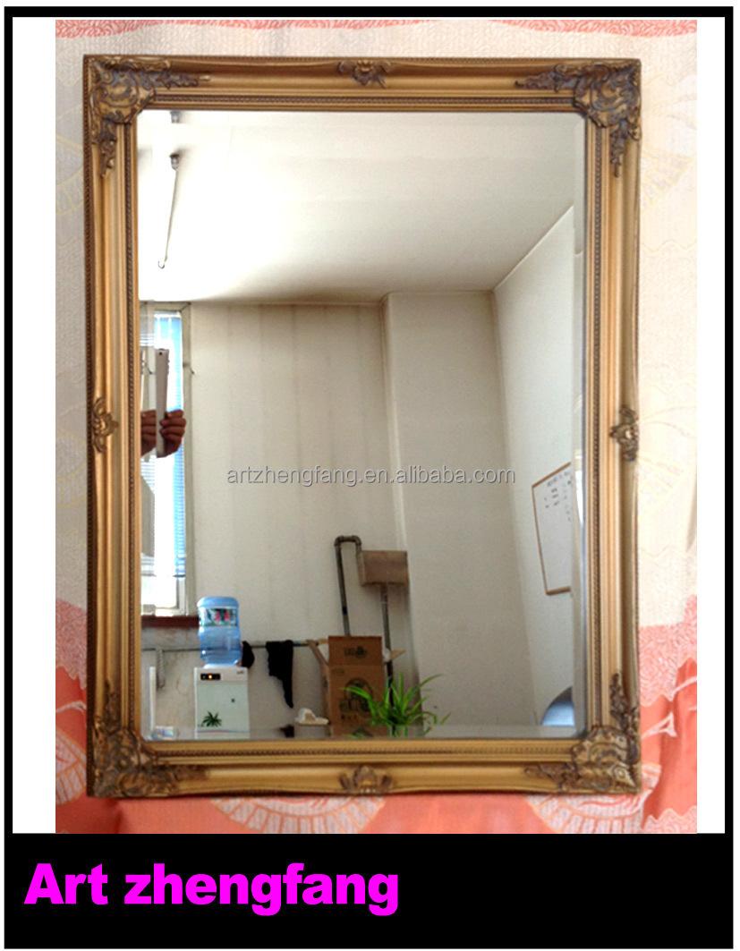 35bf34248 Retângulo de escultura em madeira artesanato moldura de espelho no espelho  da parede do banheiro
