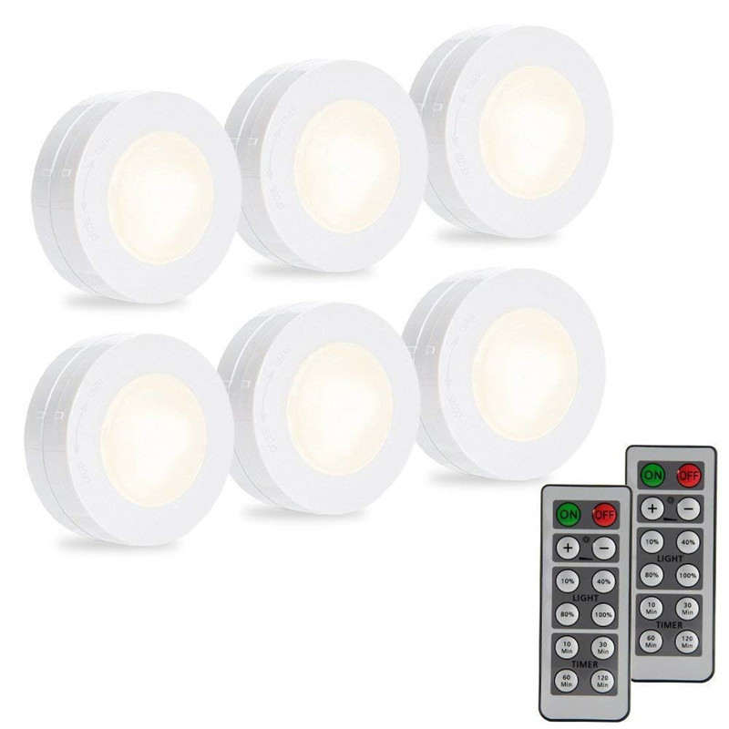 wireless led puck light 6 pack with remote control