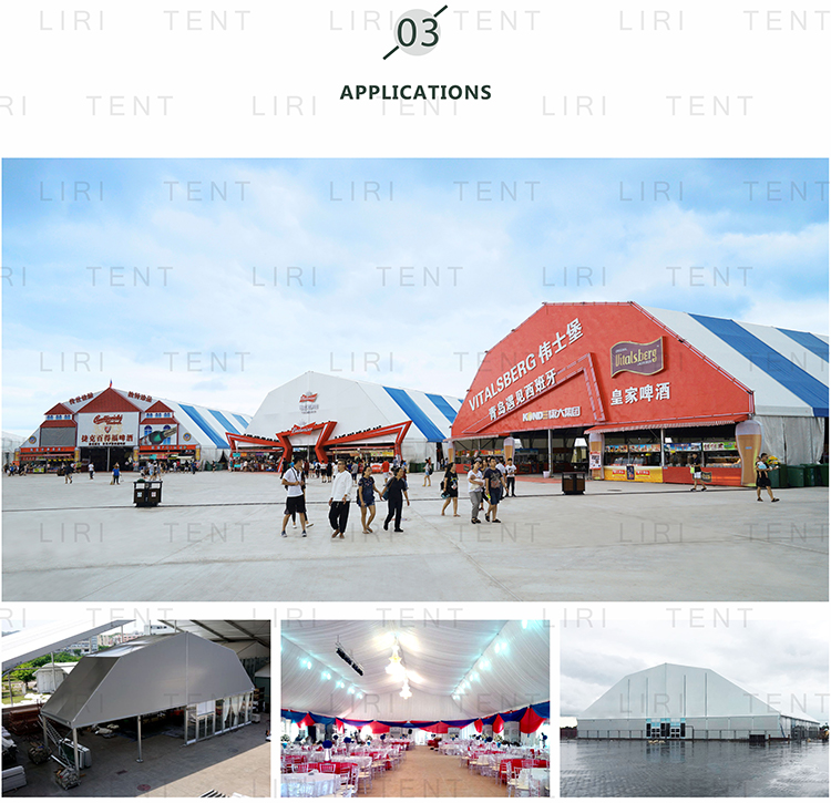 80m Clear span White Large Aluminium Frame PVC Polygon Marquee Arch Soccer Dome For Sale