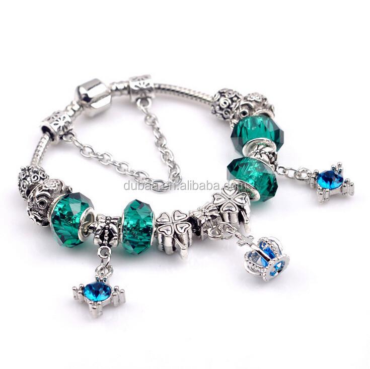 2016 de plata de la moda pulsera bisuteria chapado pavimenta laton beads europea pulseras del encanto